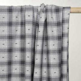 Tissu coton sergé gris à motif carreaux et plumetis - pretty mercerie - mercerie en ligne