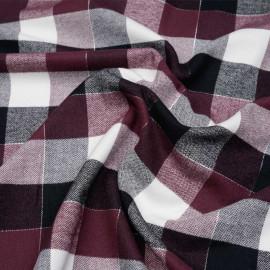 Tissu Flanelle de coton à carreaux et chevrons noir rhododendron blanc cassé et fil argent - pretty mercerie - mercerie en ligne