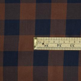 Tissu viscose sergé à motif vichy chocolat et bleu - pretty mercerie - mercerie en ligne