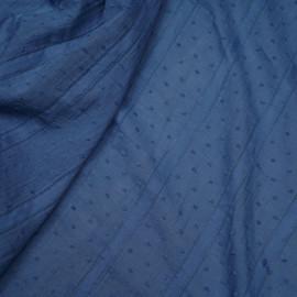 Tissu coton plumetis et bandes brodées bleu infinity - pretty mercerie - mercerie en ligne
