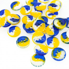 Bouton rond tri-color bleu & jaune & blanc