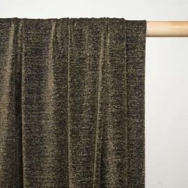 Tissu maillot de bain noir fil lurex or - Pretty mercerie - mercerie en ligne