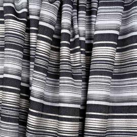 Tissu viscose tissé à motif rayures irrégulières grises blanches et dorées - pretty mercerie - mercerie en ligne
