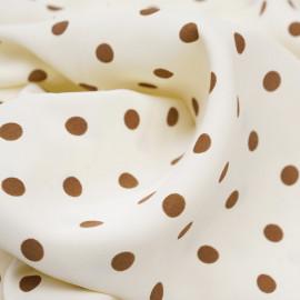 Tissu vanilla ice à motif pois beige - pretty mercerie - mercerie en ligne