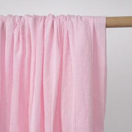 Tissu coton plumetis et bandes brodées rose pâle - pretty mercerie - mercerie en ligne