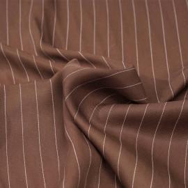 Tissu tencel sergé noisette à motif rayures pointillés blanches - pretty mercerie - mercerie en ligne