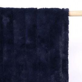 Tissu fausse fourrure bleu éclipse à rayures verticales  - pretty mercerie - mercerie en ligne