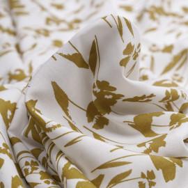 Tissu viscose blanc à motif fleuri moutarde doré - pretty mercerie - mercerie en ligne