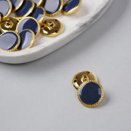Bouton métal à queue bleu marine liseré tressé doré 23 mm - pretty mercerie - mercerie en ligne
