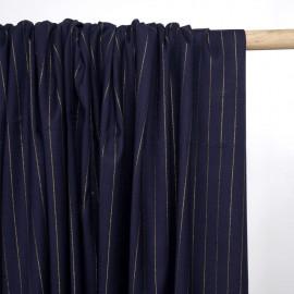 Tissu flanelle bleu marine à motif rayure lurex or - mercerie en ligne - pretty mercerie