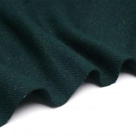 Tissu lainage vert foncé et fil lurex argenté - pretty mercerie - mercerie en ligne