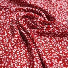 Tissu viscose chili pepper à motif branches fleuries blanches | Pretty Mercerie | Mercerie en ligne