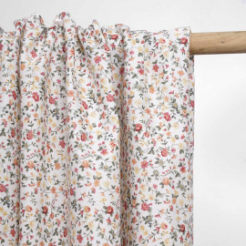 Tissu coton blanc à motif blooming rose et vert   Pretty Mercerie   Mercerie en ligne