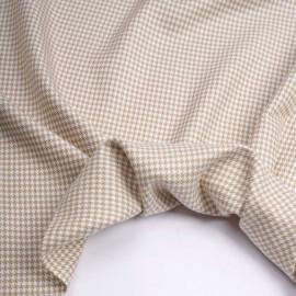 Tissu flanelle bambou à motif pied de poule beige et blanc   Pretty Mercerie   Mercerie en ligne