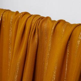 Tissu viscose inca gold à motif rayures fils dorés et argentés | Pretty mercerie | mercerie en ligne
