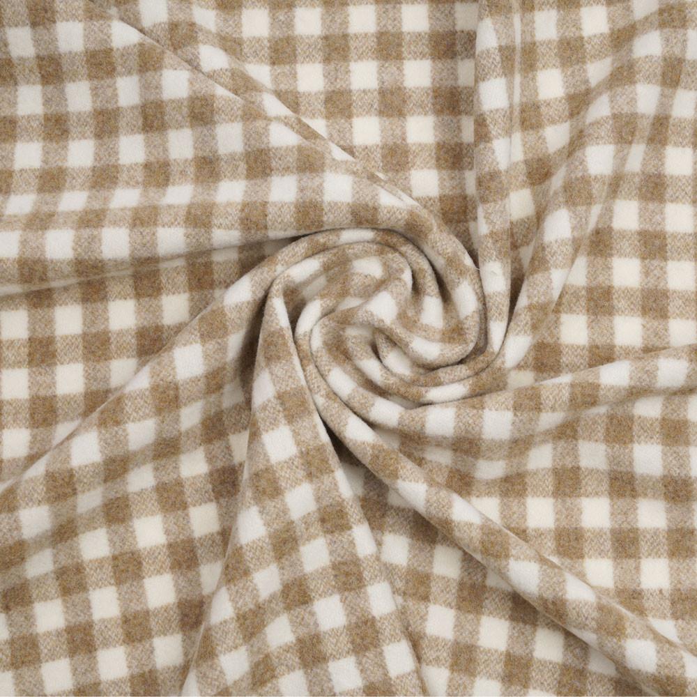 Tissu drap de laine latte à motif tissé vichy blanc | pretty mercerie | mercerie en ligne