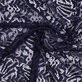 Tissu dentelle bleu marine à motif étoile filante | Pretty Mercerie | mercerie en ligne
