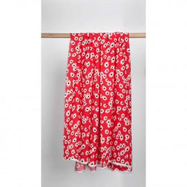 Tissu viscose rouge poppy à motif daisy blanc et noir | Pretty mercerie | mercerie en ligne