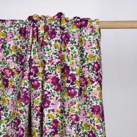 Tissu coton blanc à motif bouquet de fleur violet, vert, ocre et rose  Pretty Mercerie   Mercerie en ligne