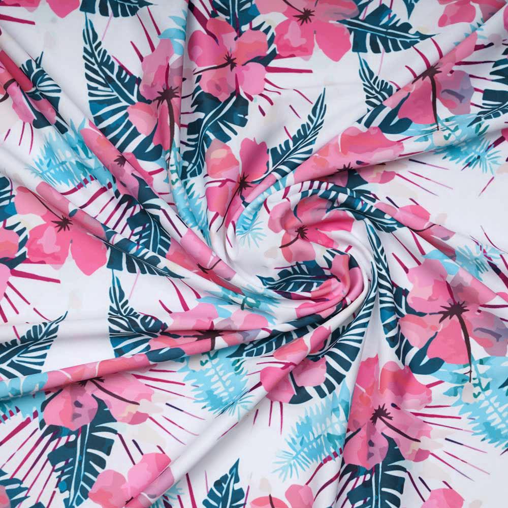 Tissu maillot de bain blanc à motif aloha corail, fuchsia, vert, bleu   Pretty Mercerie   Mercerie en ligne