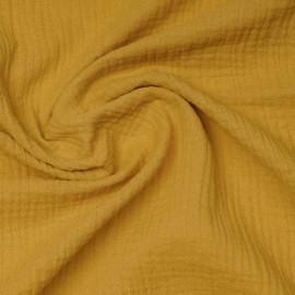 tissu double gaze de coton lemon curry   Pretty Mercerie   mercerie en ligne