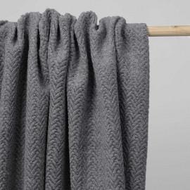 Tissu lainage gris chiné maille bouclée à motif chevron | Pretty Mercerie | mercerie en ligne