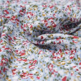 Tissu viscose bleu ciel à motif bloom rose, vert et moutarde | Pretty Mercerie | Mercerie en ligne