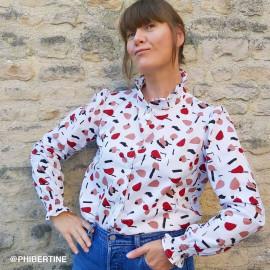 Tissu coton blanc à motif abstraits rosewood, rouge pompei et noir | Pretty Mercerie | Mercerie en ligne
