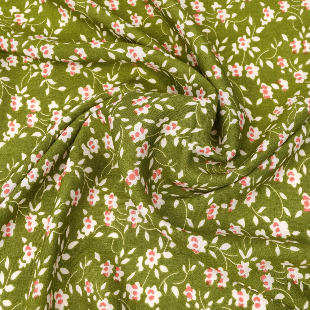 Tissu viscose woodbine à motif floral beige et rose | Pretty Mercerie | Mercerie en ligne