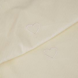 Tissu velours fines côtes écru à motif coeur brodé   Pretty Mercerie   mercerie en ligne