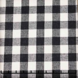 Tissu coton noir et blanc à motif tissé vichy | Pretty Mercerie | Mercerie en ligne
