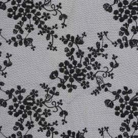 Tissu dentelle résille noir à motif fleuri romantique | pretty mercerie | mercerie en ligne