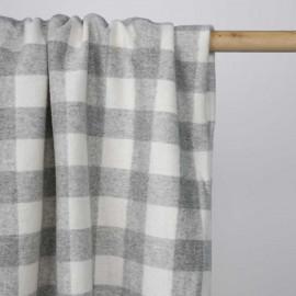 Tissu lainage léger à motif vichy gris clair et blanc    Pretty Mercerie   Mercerie en ligne