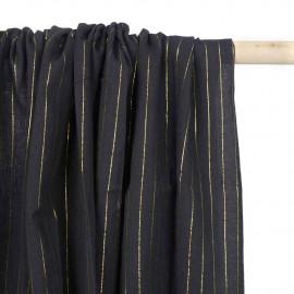 Tissu coton noir à rayures tissées dorées   pretty mercerie   mercerie en ligne