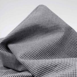 Tissu coton et lin à motif tissé pied de poule noir et blanc | Pretty Mercerie | mercerie en ligne