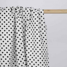Tissu coton blanc à motif pois noir | Pretty Mercerie | mercerie en ligne