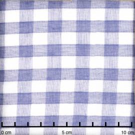 tissu double gaze de coton blanc à motif tissé vichy bleu | pretty mercerie | mercerie en ligne