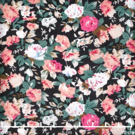 Tissu voile de coton noir à motif bouquet de rose vert et fuchsia | pretty mercerie | mercerie en ligne