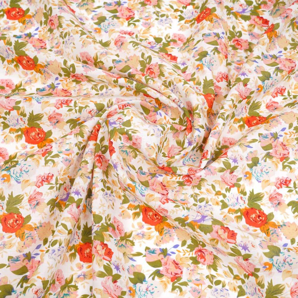 Tissu voile de coton blanc à motif bouquet de rose corail et orange | pretty mercerie | mercerie en ligne