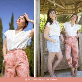 Tissu coton tie and dye corail et blanc | Pretty Mercerie | Mercerie en ligne