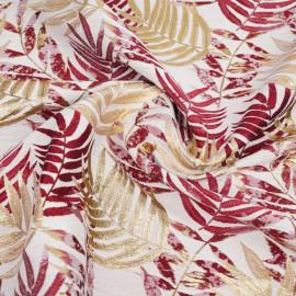Tissu jacquard crème à motif tissé palme, doré et rouge   pretty mercerie   mercerie en ligne