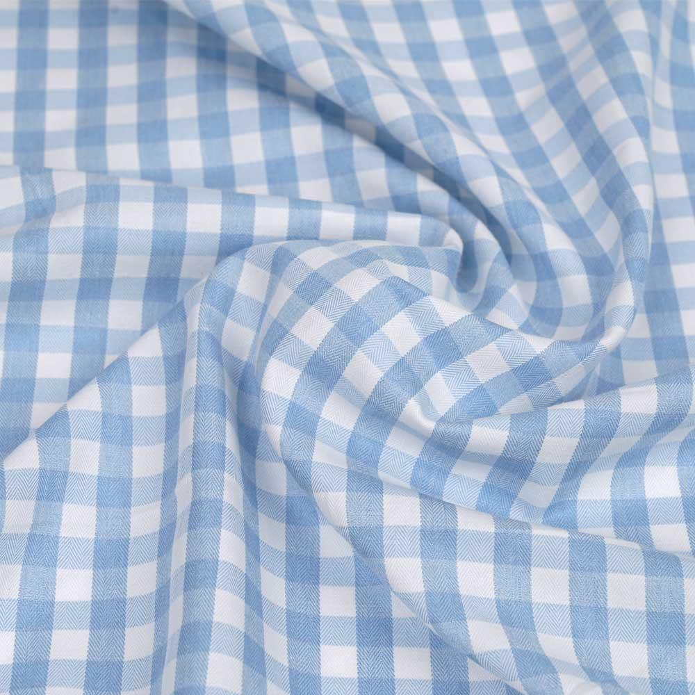 Tissu polycoton bleu pastel et blanc à motif tissé vichy | Pretty mercerie | mercerie en ligne