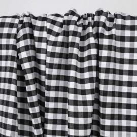 Tissu polycoton noir et blanc à motif tissé vichy   Pretty mercerie   mercerie en ligne