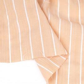 Tissu viscose pêche tissé à motif rayures blanches et fil lurex argenté   pretty mercerie   mercerie en ligne