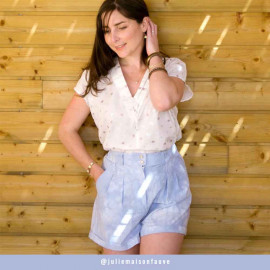 Tissu coton tie and dye bleu ciel et blanc   Pretty Mercerie   Mercerie en ligne
