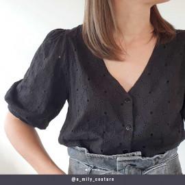 Tissu coton brodé et ajouré noir à motif fleuri  - pretty mercerie - mercerie en ligne