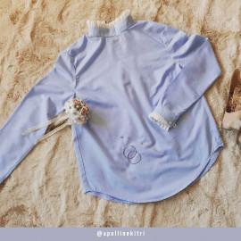 Tissu coton oxford blanc et bleu baby blue | Pretty Mercerie | mercerie en ligne