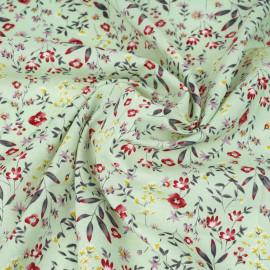 Tissu voile de coton ambrosia à motif fleurs des champs framboise, ocre, mauve | pretty mercerie | mercerie en ligne