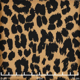 Tissu viscose beige à motif léopard noir   Pretty Mercerie   Mercerie en ligne