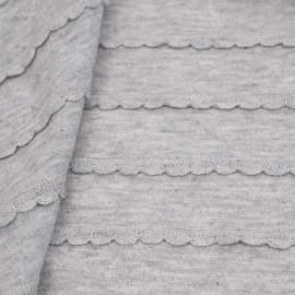 Tissu jersey gris chiné à motif tissés lignes festonnées   Pretty Mercerie   mercerie en ligne